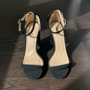 Black block heel strappy sandals